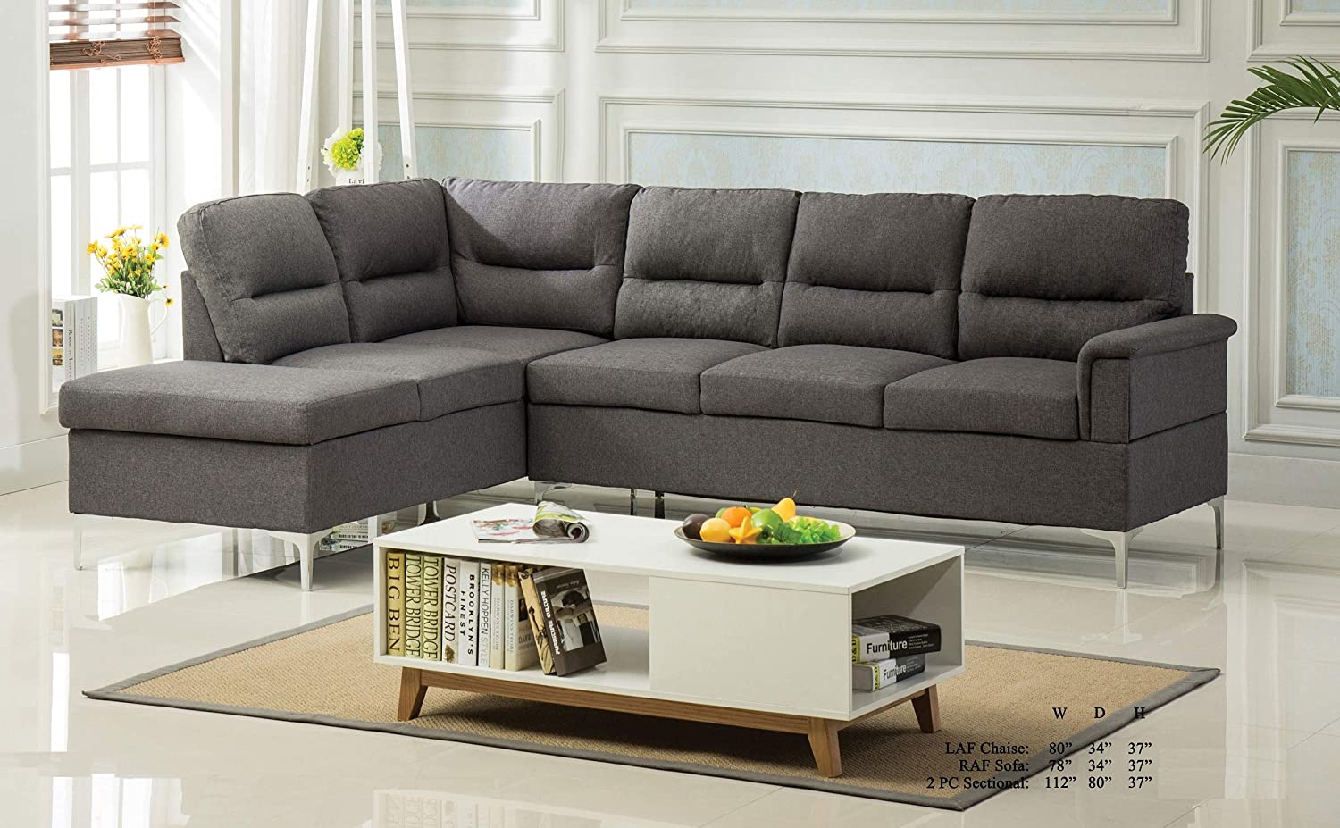Amazon.com: Modern Classic Living Room Furniture 2pc Sectional Sofa ...