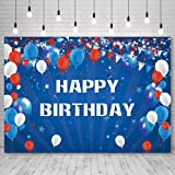 GiuMsi 7X5ft Polyester Happy Birthday Backdrop Blue White and Red Balloons Birthday Party Backdrop Stars Flags Photography Ba