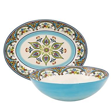 Euro Ceramica Zanzibar Collection Vibrant Ceramic Serving Assortment, Oval Platter & Round Serving Bowl, 2 Piece Set, Spanish Floral Design, Multicolor