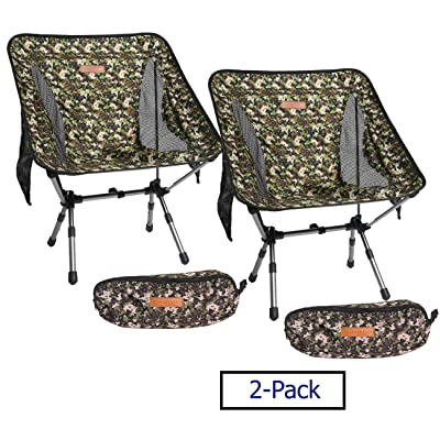 Boundary Life Portable Camping Chair: [2-Pack] Camp, Backpacking and Hiking - Compact Collapsible and Light Chairs fit in a Backpack Great for Hunting Fishing Picnic or Beach (2 Pack - Camo): Automotive