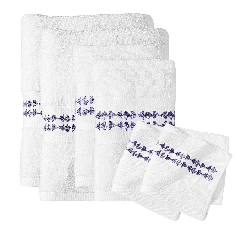 Sabrina Soto® Boutique Luxury 6 Piece Bath Towel,Hand Towel and Washcloth Set (Purple)