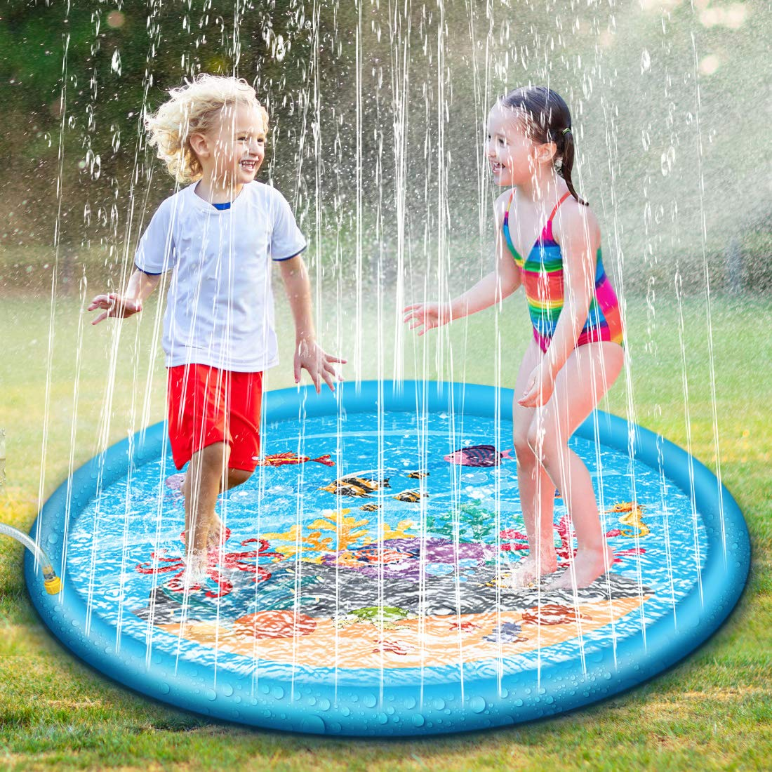 Jomst Sprinkle & Splash Play Mat Inflatable Outdoor Party Sprinkler Splash Pad Toddler Water Toys Fun for Children 2 3 4 5 6 Years Old Boys and Girls (Blue, 68'') by Jomst