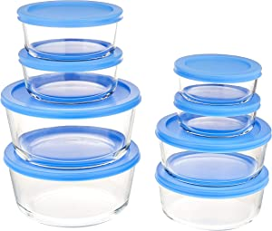 Amazon Basics Glass Food Storage, 16-Piece Set, 8 Containers and 8 BPA-Free Lids