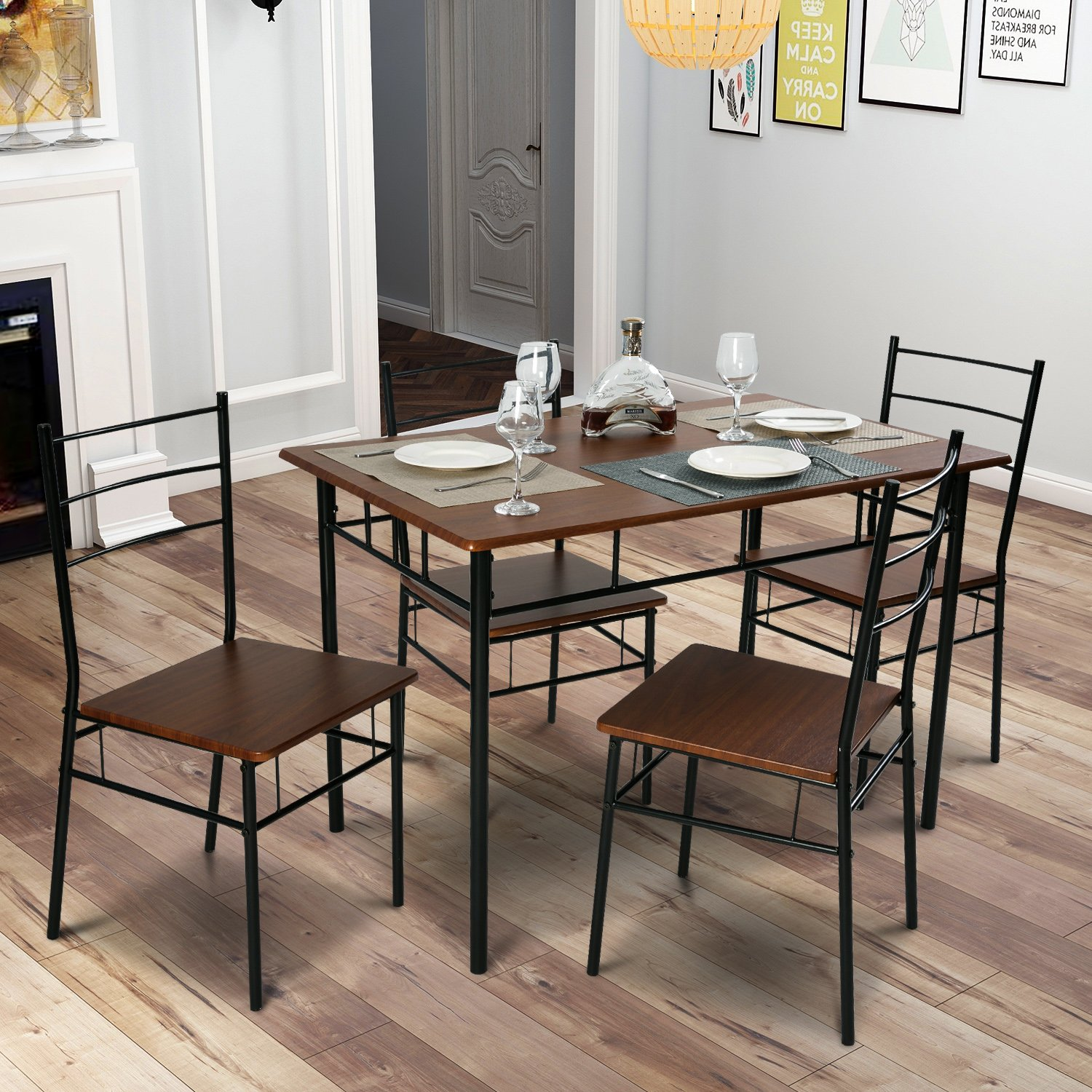 Merax 5 Pcs Wood and Metal Dining Set Table and 4 Chairs Home Kitchen Modern FurniturexFF08;EspressoxFF09; Harper&Bright Designs WF020160DAA