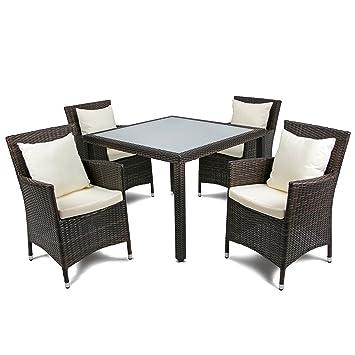 Rattan4Life Madrid Rattan Braun / Creme Polyrattan Gartenmoebel Sitzgruppe  Lounge Moebel Set Tisch Gartentisch Sessel Sofa