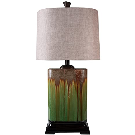 Awesome StyleCraft Home Collection Alton Green Dripping Glaze Ceramic Table Lamp