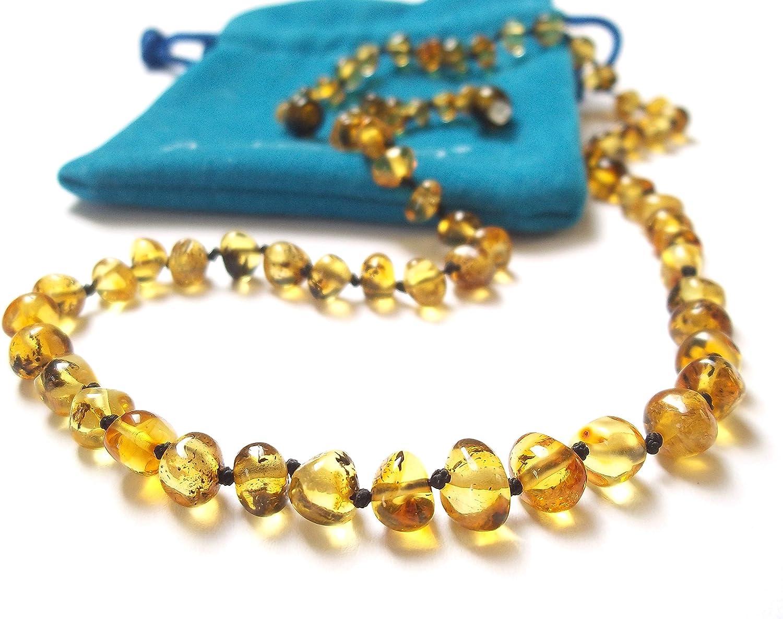 Amberta Collier Ambre 33cm 100/% Plus Haute Qualite Certifie lAmbre la Baltique Authentique Collier Perles