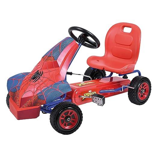 Hauck Marvel Spiderman Kart para niños - Coche a Pedales con 1 marcha , Freno de mano, Asiento ajustable en 3 posiciones y Neumáticos con perfil de goma: ...