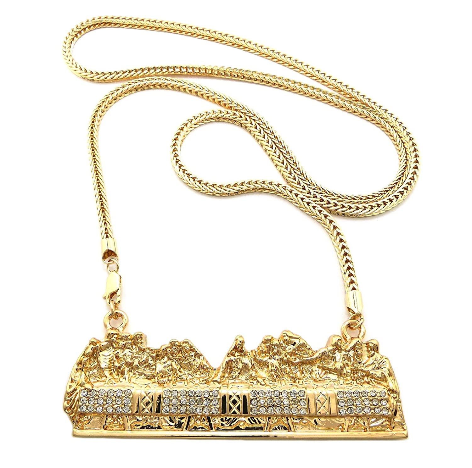 Goldtone with Clear Iced Out Jesus Last Supper Pendant with a 36 Inch Franco Chain Necklace (C-485)