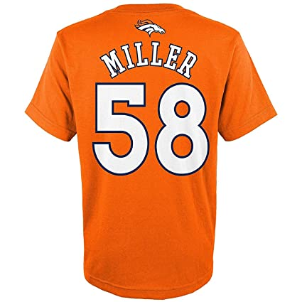 Outerstuff Von Miller Denver Broncos Orange  30 Youth Performance Name and  Number T-Shirt a7da60571