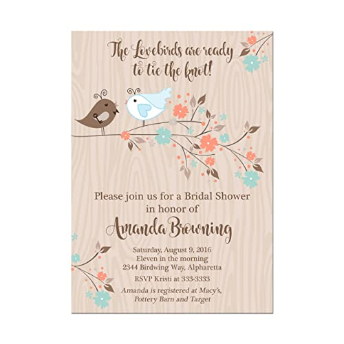 lovebirds bridal shower invitations in blue and coral with bird bride and groom set of