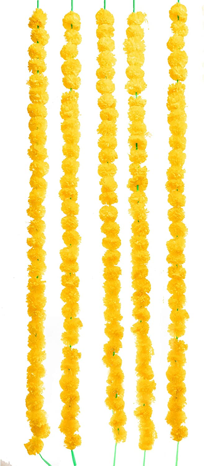TIED RIBBONS Artificial Marigold Flowers String (Pack of 5) - Flower Garlands for Indian Wedding Party House Warming and Home Decoration