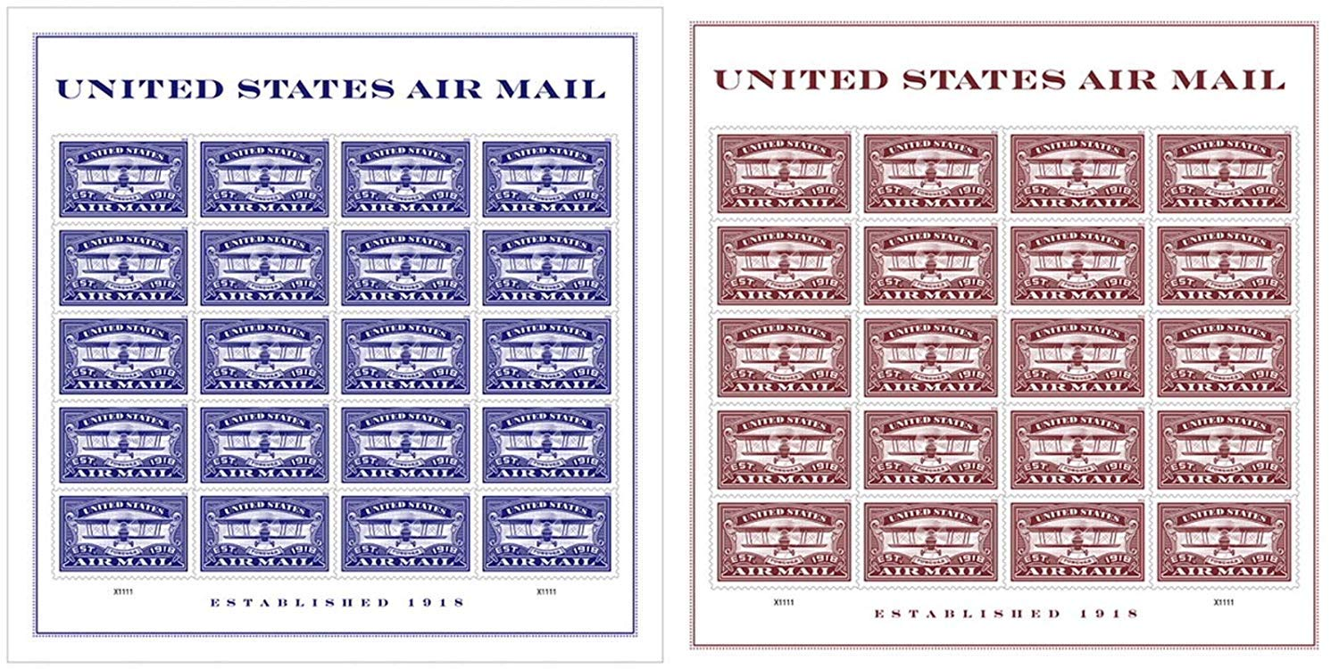 Set of Both Air Mail Red and Air Mail Blue Commemorative Forever Stamp Sheets by USPS (2 Sheets of 20) - Celebrate 100th Anniversary of The Beginning of The Air Mail