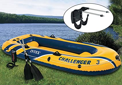 Intex Challenger 3 Boat 2 Person Raft & Oar Set Inflatable with Motor Mount  Kit