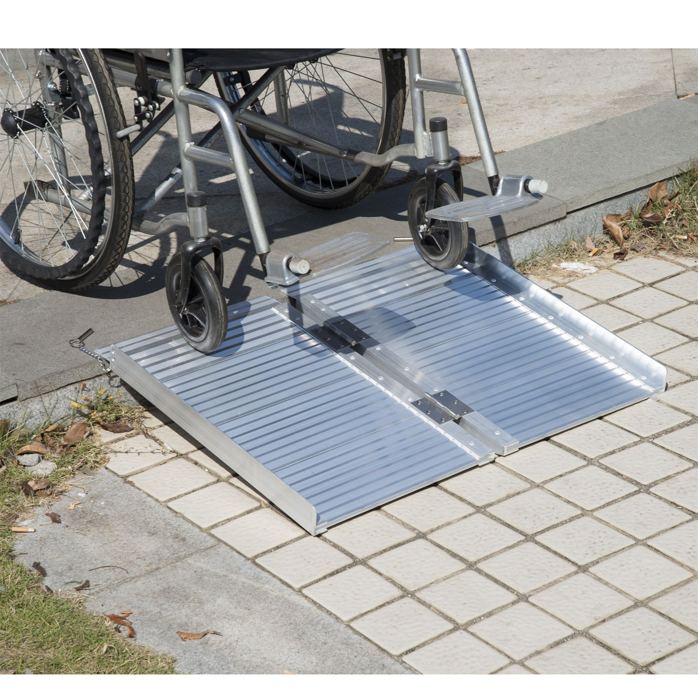 Festnight Folding Portable Mobility Wheelchair Threshold Ramp 2'