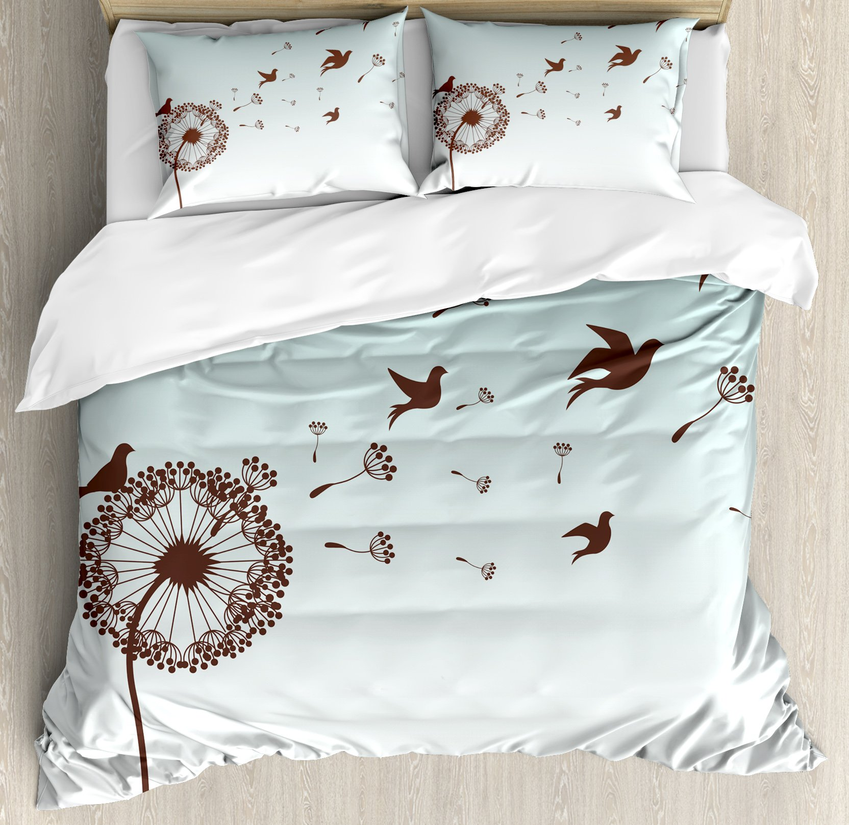 Ambesonne Art Duvet Cover Set King Size, Dandelion Flower Arrangement Petals Doves Flying Silhouettes Fantasy Blooms Print, Decorative 3 Piece Bedding Set with 2 Pillow Shams, Turquoise Brown