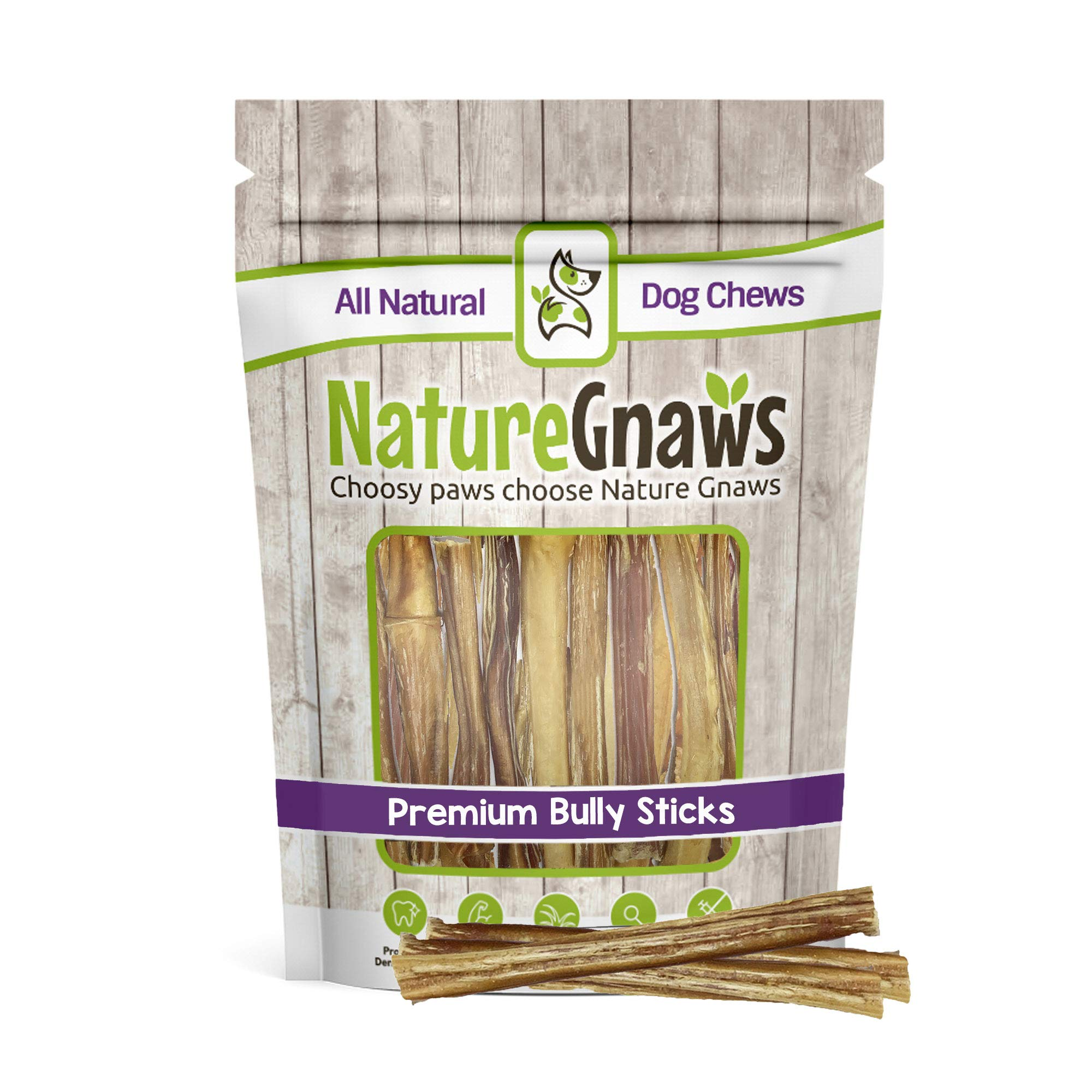 Nature Gnaws Small Bully Sticks 5-6 inch (5 Pack) - 100% All-Natural Grass-Fed Free-Range Premium Beef Dog Chews