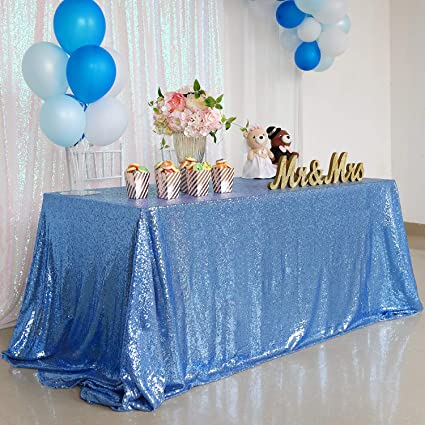 Terrific Soardream Sequin Table Cloth 90X156Inches Baby Blue Rectangle Fabric For Wedding Party Birthday Home Decorations Interior Design Ideas Clesiryabchikinfo