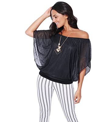 6bf58f9f1d1e9 KRISP Womens Short Sleeve Chiffon Blouse with Necklace (6093-BLK-SM.3