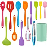 LIANYU 14 Pcs Cooking Utensils Set with Holder, Silicone Kitchen Cookware Utensils Set, Heat Resistant Cooking Gadget Tools I