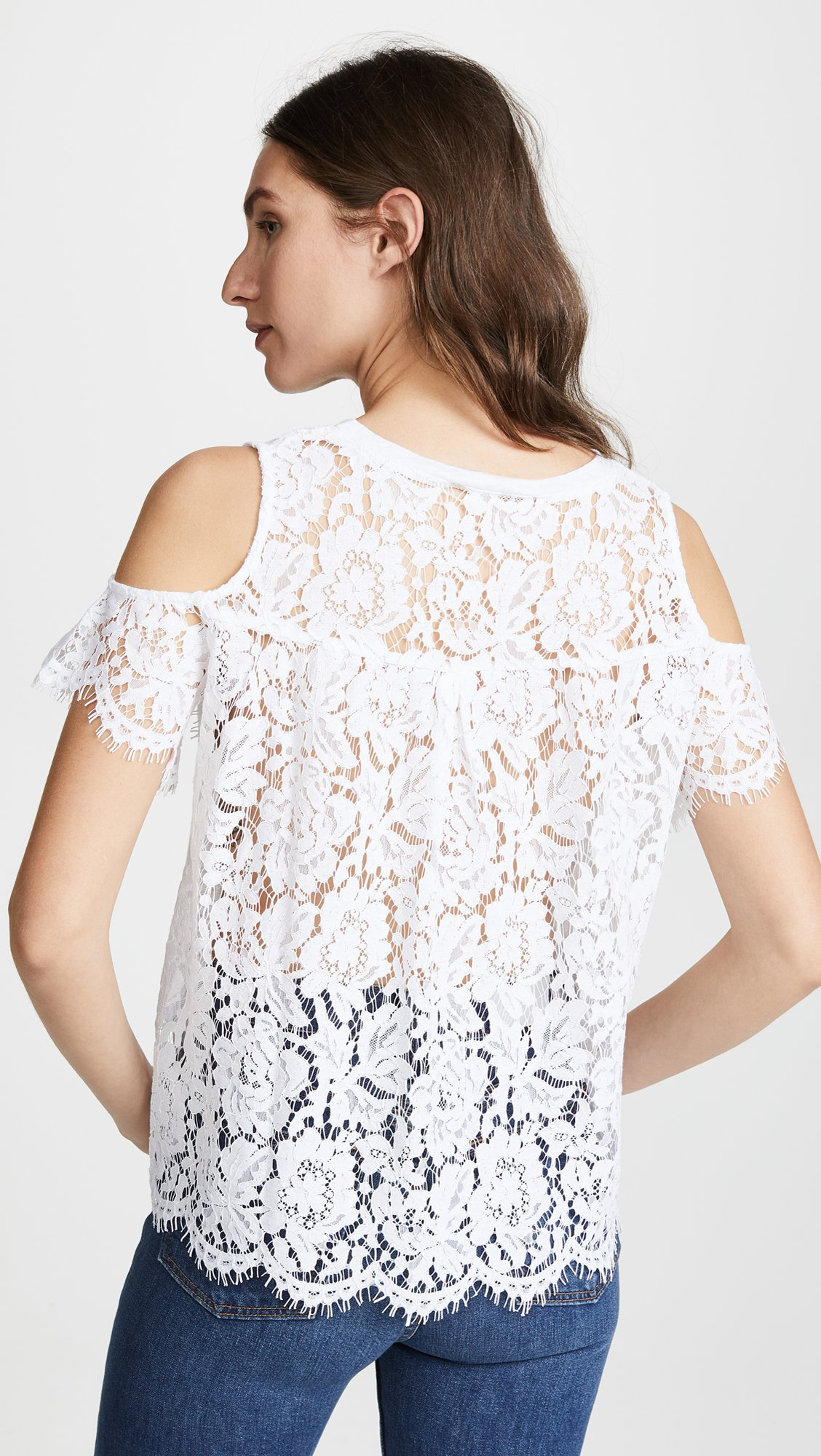 Generation Love Women's London Lace Cold Shoulder Tee, White, Small by Generation Love (Image #3)