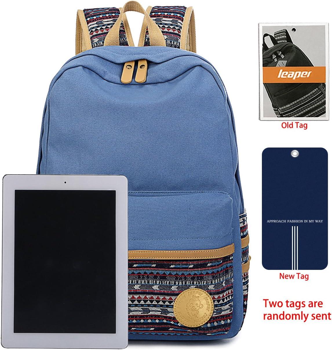 Leaper Casual Canvas School Backpack Bookbag Laptop Bag Travel Bag Light Blue