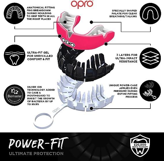 10 Ans et Plus la Boxe et dautres Sports de Contact et de Combat Opro Power-Fit Le Hockey la Crosse prot/ège-Dents pour Adultes pour Le Rugby | 18 Mois de Garantie Dentaire