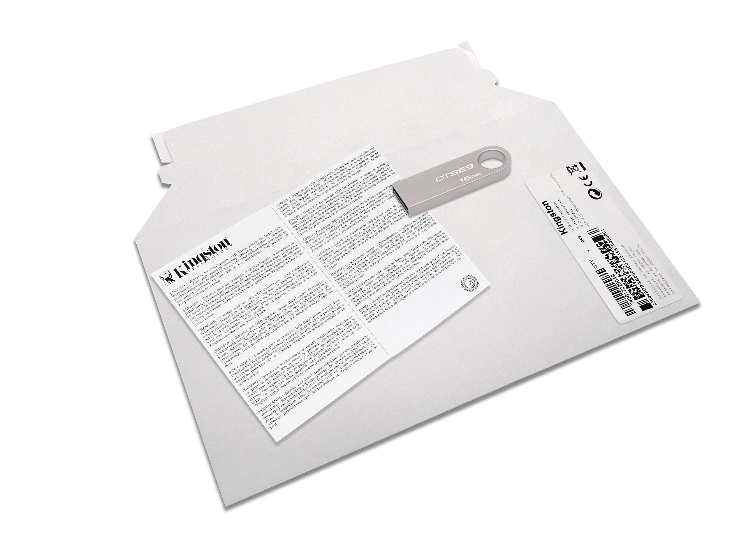 Kingston DataTraveler SE9 Memoria USB Portatile 16 GB, USB 2.0 [Imballaggio apertura facile di Amazon]