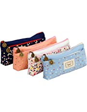 Ipow Set of 4 Pastorable Flower Floral Canvas Double Zipper Large Make Up Cosmetic Pen Pencil Stationery Storage Pouch Bag Case …