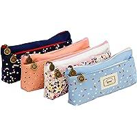 Ipow® sac de toile crayon cosmétique sac trousses scolaire, ensemble de 4(pastoral)