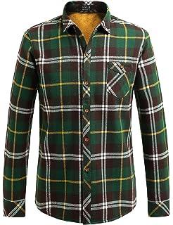 SSLR Mens Winter Slim Fit Button Down Long Sleeve Fleece Plaid Shirt