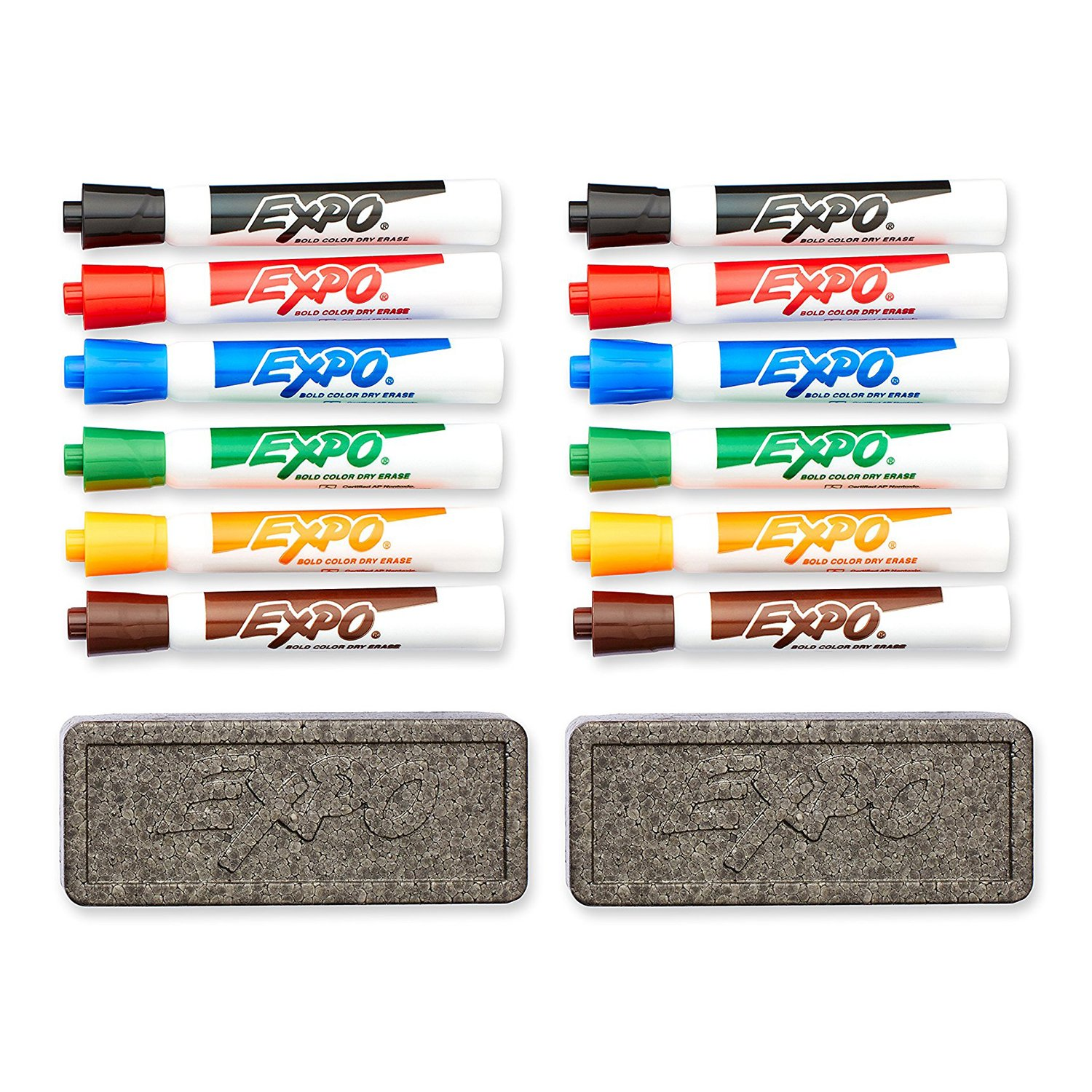 Amazon.com : EXPO Original Dry Erase Set, Chisel Tip, Assorted Colors, 7-Piece with Organizer, 2-Sets : Office Products