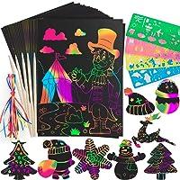 Gamenote Rainbow Scratch Art for Kids - 83 Pcs Black Scratch Paper Arts Sheets Crafts Supplies for Adults Children Girls Boys Birthday Valentines