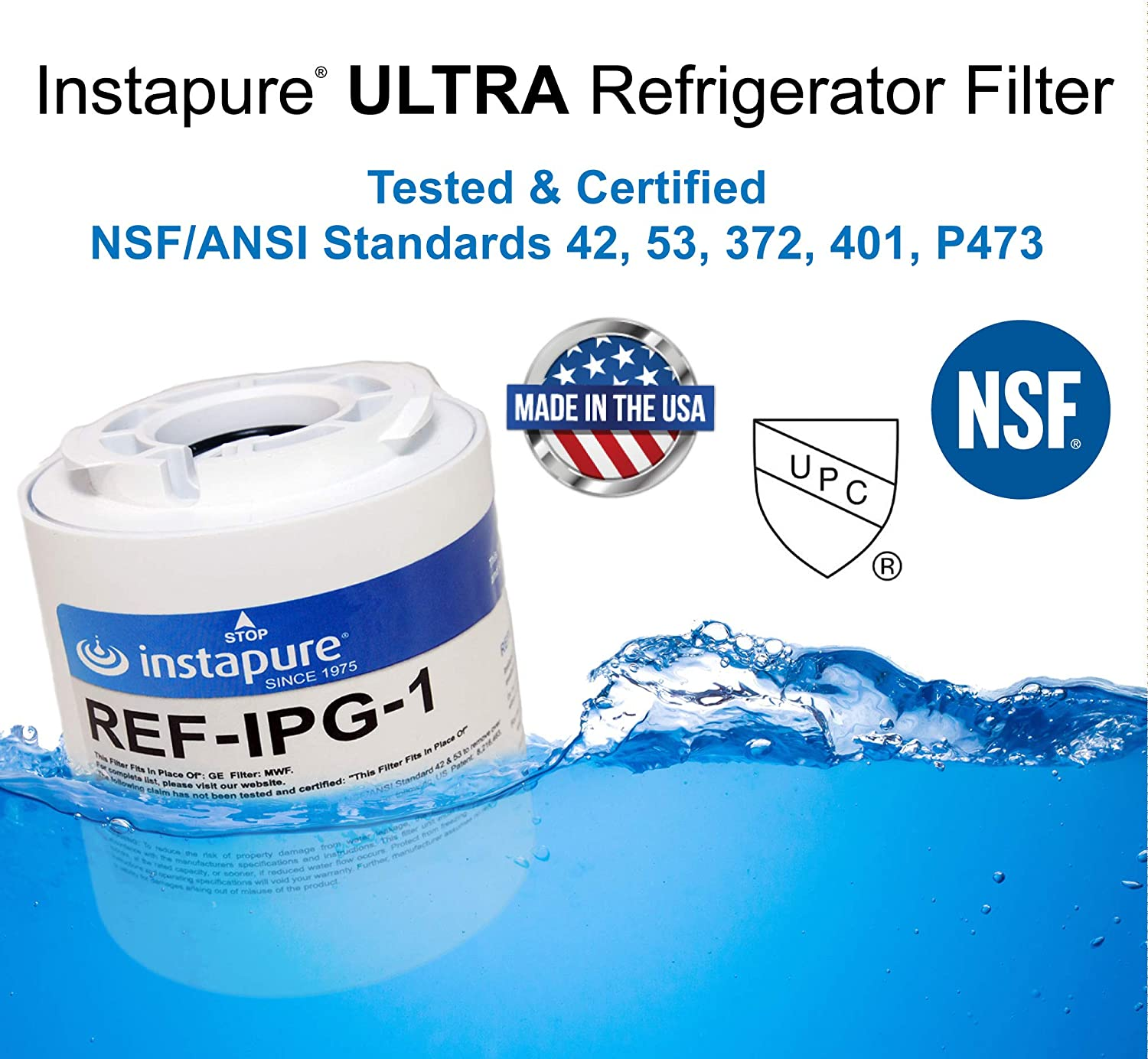 Instapure REF-IPG-1 ULTRA Refrigerator Filter GE MWFA Tested /& Certified by NSF to ANSI//NSF 42 and 53 Instapure Brands Inc. and more MADE IN USA GE GWF06 Compatible with GE MWF