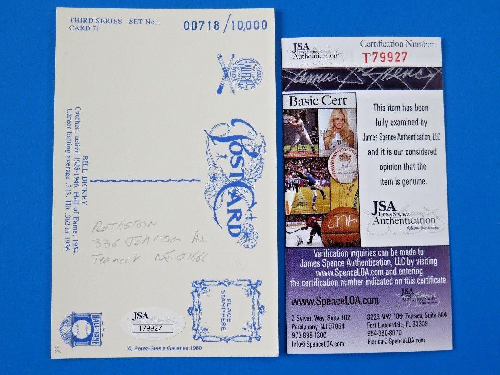 Bill Dickey Autographed Signed 1980 Perez Steele Postcard ~ Hof ~ Ny Yankees ~ JSA T79927