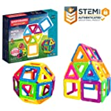Magformers Neon 30 Pieces Rainbow neon colors, Educational Magnetic Geometric shapes tiles Building STEM Toy Set Ages 3+