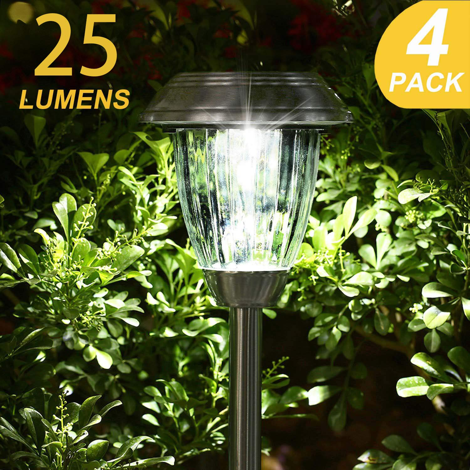 TAKE ME Solar Lights Outdoor,Garden Solar Walkway Path Lights,Super Bright LED Stainless Steel Glass Landscape Lighting for Lawn/Patio/Yard/Driveway by TAKE ME