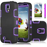 Galaxy S4 Case, EC™ 3in1 Hybrid High Impact Armor Case Defender Shockproof Combo Case for Samsung Galaxy S4 IV i9500 with Screen Protector and Stylus (Purple/Black)