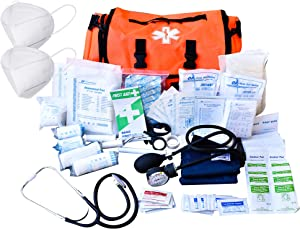 EMT 1st Emergency Responder First Aid Kit | Medical Trauma Bag for Disaster Preparedness | Perfect for Wilderness, Camping, Home, Car, & Office | Our Fully Stocked Kits have 40 Unique items (362pcs)