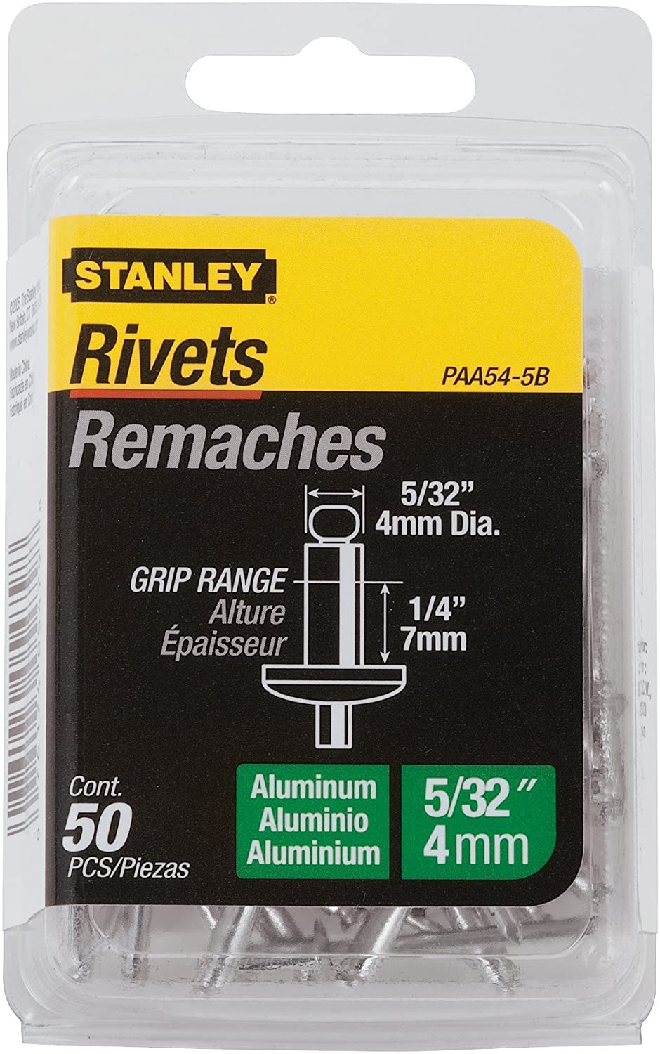 STANLEY PAA54-5B 5//32-Inch x 1//4-Inch Aluminum Grip Rivets 50-Pack