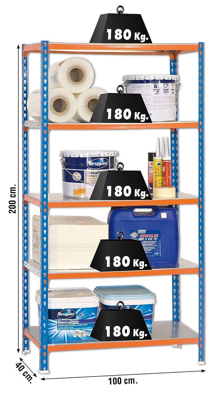 SimonRack SI414 Kit Estanter/ía con 5 Estantes Azul naranja y galvanizado 2000 x 1000 x 400 mm