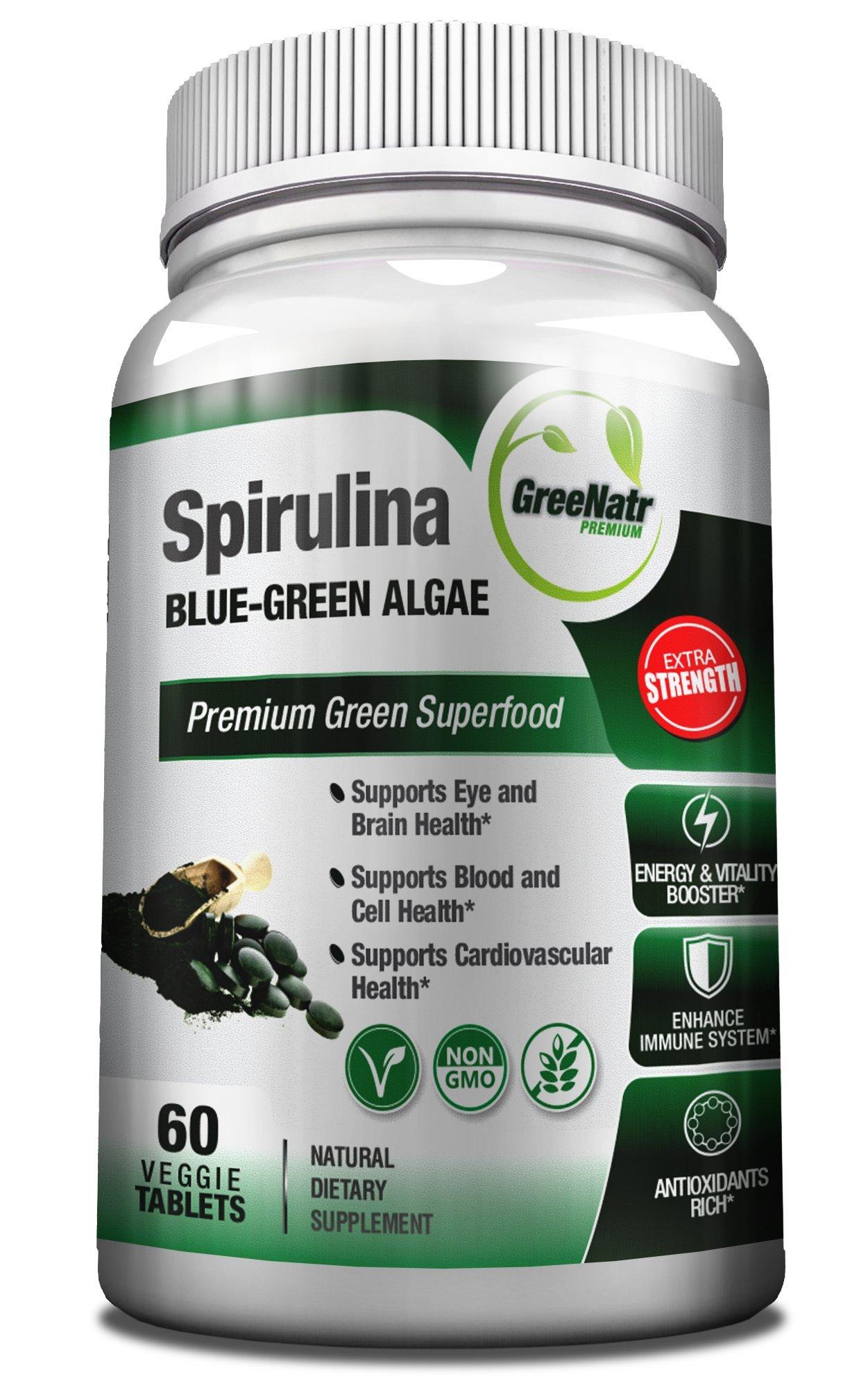 Spirulina Tablets - Blue Green Algae Pills - Veggie Formula / Non GMO / Gluten Free- See Spirulina Health Benefits At 1000mg Per Day - 30-Day Supply
