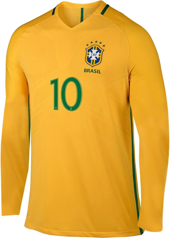 Amazon.com: Neymar Brasil Home Jersey de manga larga Niños ...