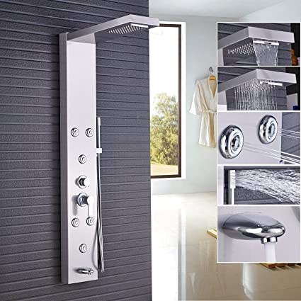 Rozin Waterfall Rain Shower Panel Set Tub Tap + Body Spray Jets + ...
