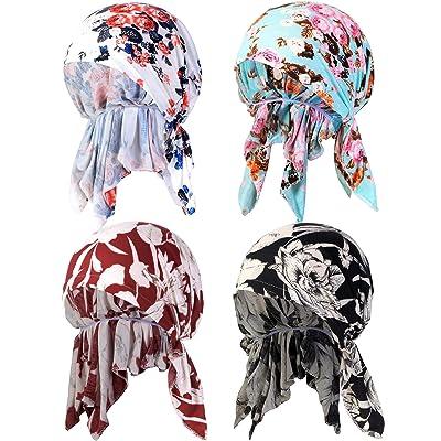 4 Piezas de Pañuelo de Cabeza Elástico de Algodón de Mujeres Turbante Gorra Impresa Bufanda Preatada Gorra de Dormir de Noche (Conjunto de Colores 1): Ropa y accesorios
