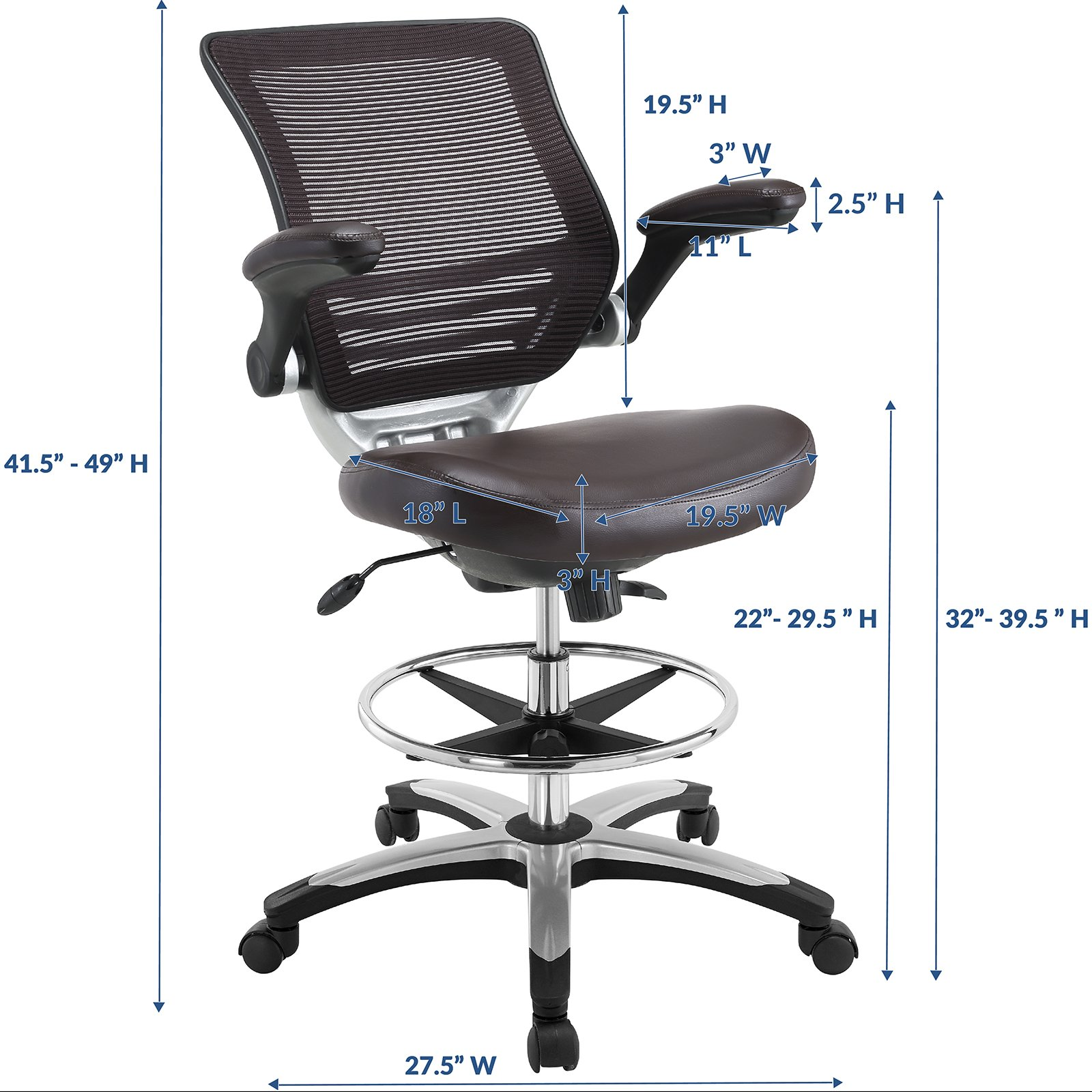 Modway Edge Drafting Chair In Brown - Reception Desk Chair - Tall Office Chair For Adjustable Standing Desks - Flip-Up Arm Drafting Table Chair by Modway (Image #2)