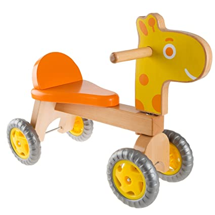 Happy Trails Walk And Ride Wooden Giraffe Balance Bike For Toddlers 1 2 Years Old Ride Push Or Pull Toy Perfect For Boys And Girls
