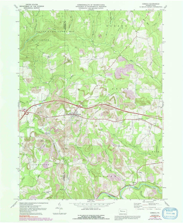Amazon Com Yellowmaps Corsica Pa Topo Map 1 24000 Scale 7 5 X