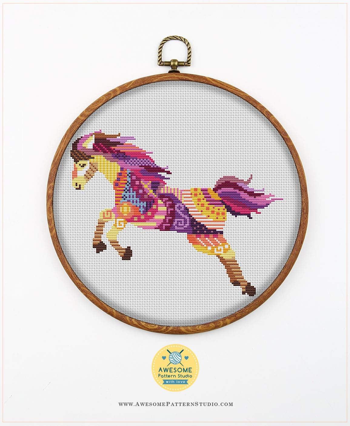 Cross Stitch Designs Embroidery Stitches Funny Animals Embroidery Kits Embroidery Designs Stitching Mandala Horse #K551 Cross Stitch Kit