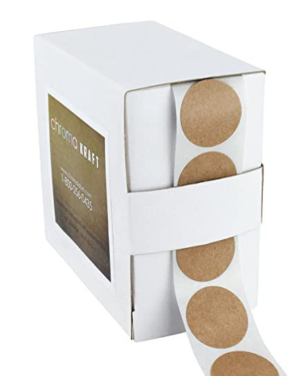 1 brown kraft paper dot labels 1000 round stickers per dispenser box permanent